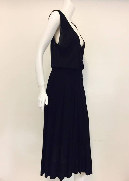 Chanel Black Viscose Stretch Dress With Surplice Front and Full Longer Skirt  2