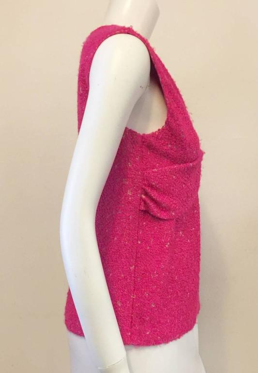 Chanel Hot Pink Boucle Sleeveless Top  2