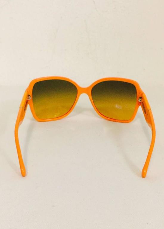 Chanel Orange Large Frame Sunglasses With Gold Tone Accents  5