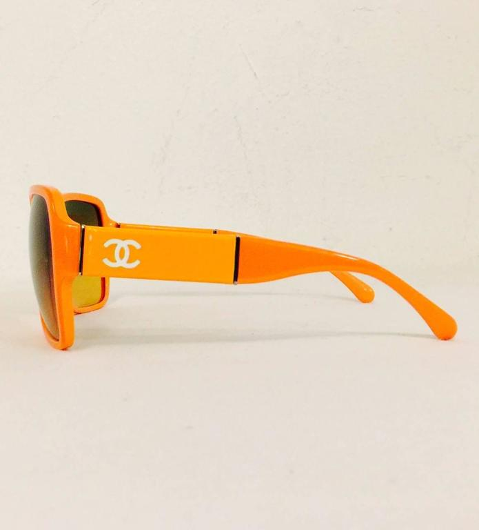 Chanel Orange Large Frame Sunglasses With Gold Tone Accents  2