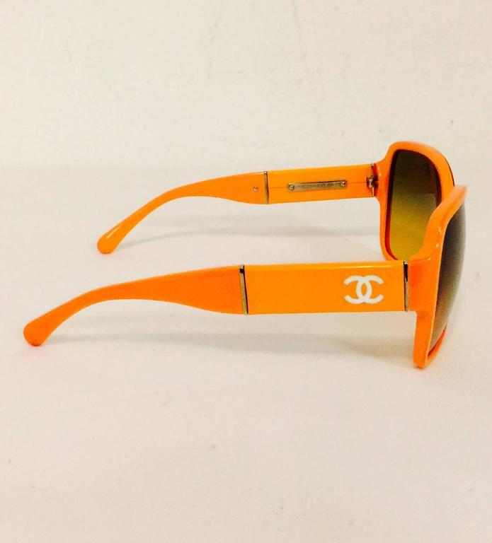 Chanel Orange Large Frame Sunglasses With Gold Tone Accents  4
