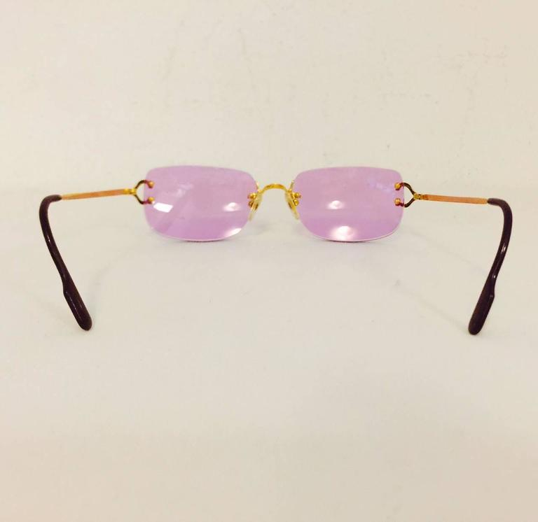 Cartier Rimless Sunglasses With Rose Pink Tinted Lenses   4