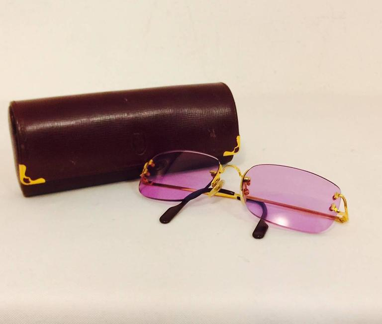 Cartier Rimless Sunglasses With Rose Pink Tinted Lenses   7