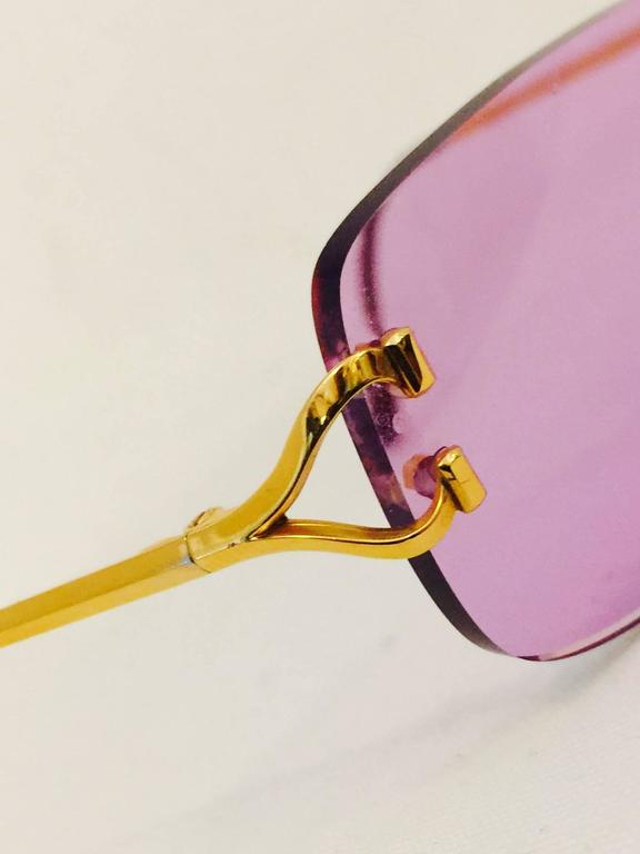 Cartier Rimless Sunglasses With Rose Pink Tinted Lenses   3