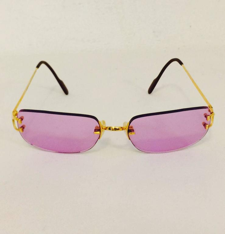 Cartier Rimless Sunglasses With Rose Pink Tinted Lenses   2