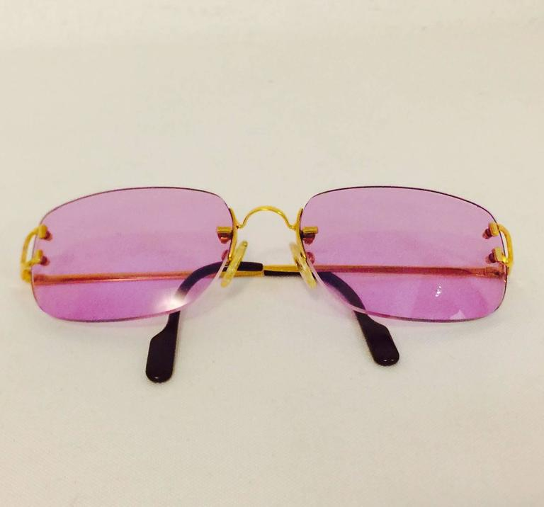 Cartier Rimless Sunglasses With Rose Pink Tinted Lenses   6