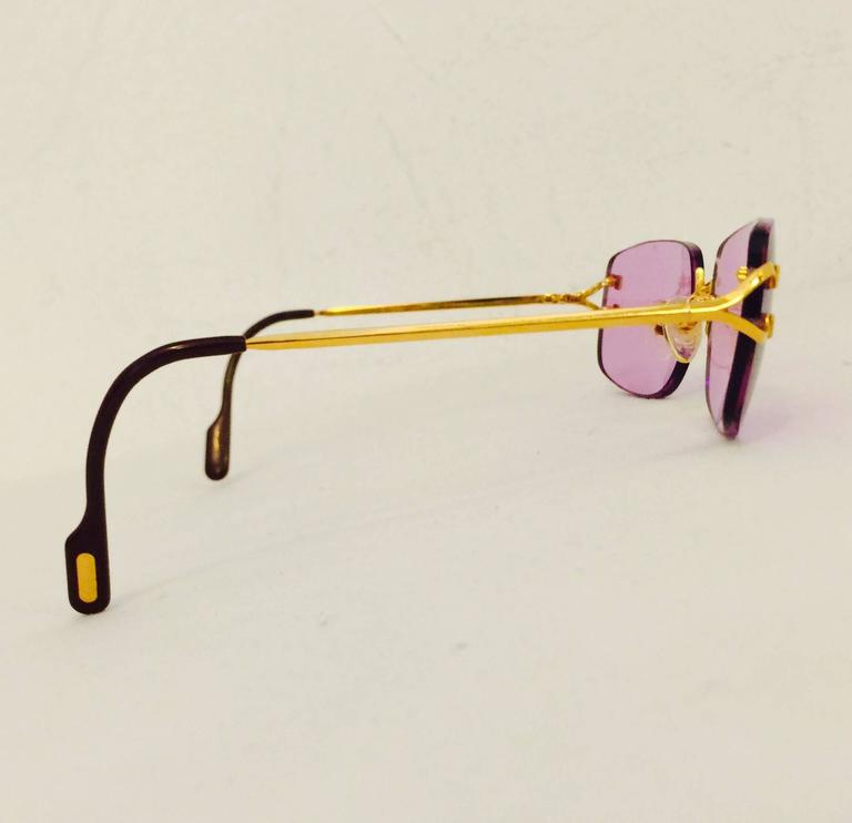 Cartier Rimless Sunglasses With Rose Pink Tinted Lenses   5