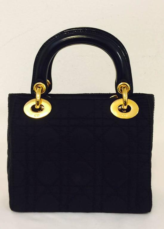Christian Dior Lady Dior Mini Black Nylon Bag With Gold Tone Hardware In Good Condition For Sale In Palm Beach, FL
