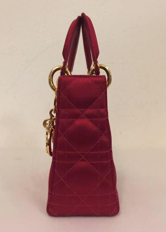 d05b8760200 Iconic Mini Lady Dior Ravishing Red Silk Satin Evening Bag is highly sought  from Hollywood to