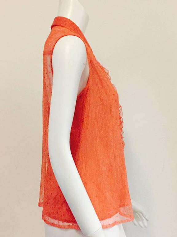 Chanel Peach Lace Sleeveless Top with Camisole and Ruffled Front  4