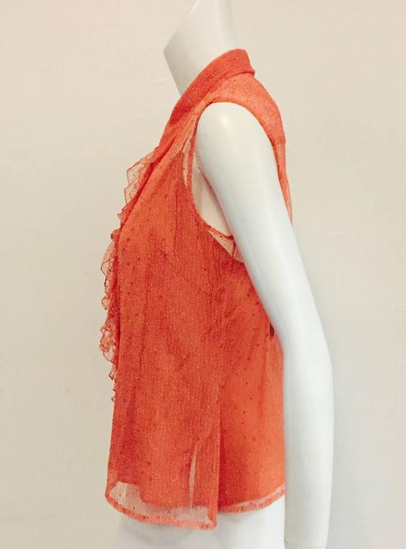 Chanel Peach Lace Sleeveless Top with Camisole and Ruffled Front  2