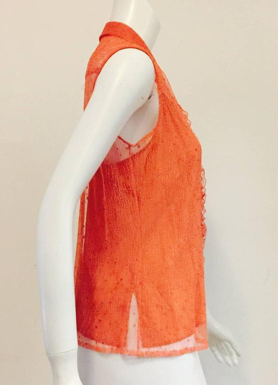 Chanel Peach Lace Sleeveless Top with Camisole and Ruffled Front  5