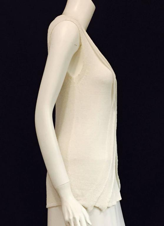 Chanel Longer Length Ivory Stretch Top With V-Neckline and Cap Sleeves  2
