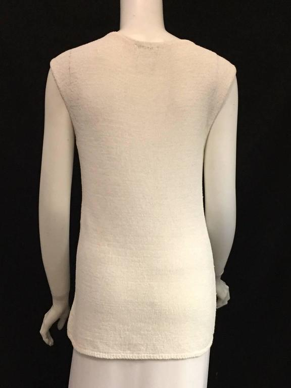 Beige Chanel Longer Length Ivory Stretch Top With V-Neckline and Cap Sleeves  For Sale