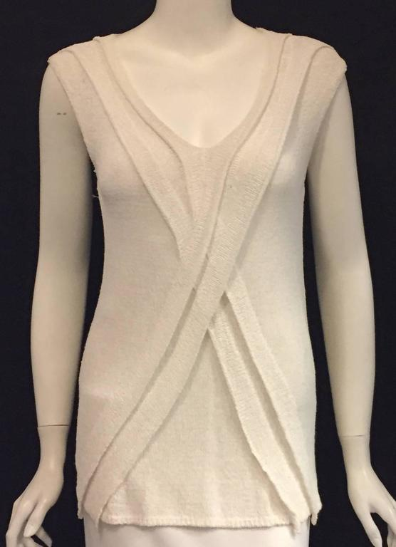 Women's Chanel Longer Length Ivory Stretch Top With V-Neckline and Cap Sleeves  For Sale