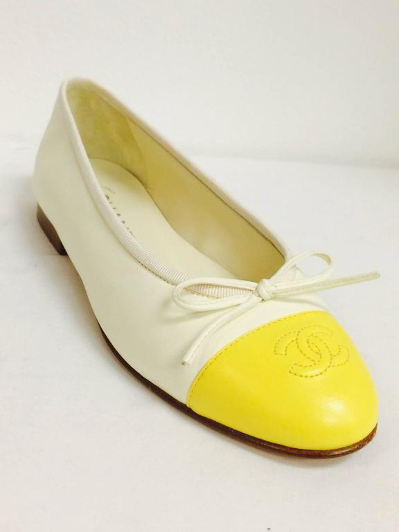 Chanel Vanilla Leather Ballerina Flats With Lemon Cap Toes 2
