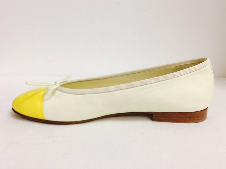 Chanel Vanilla Leather Ballerina Flats With Lemon Cap Toes 4