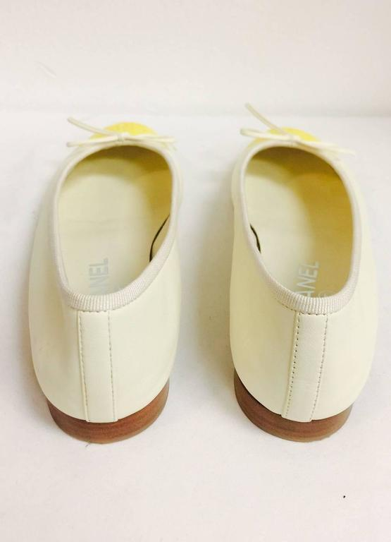 Chanel Vanilla Leather Ballerina Flats With Lemon Cap Toes 5