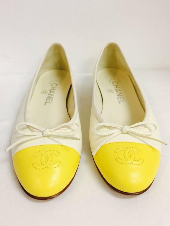 Chanel Vanilla Leather Ballerina Flats With Lemon Cap Toes 3