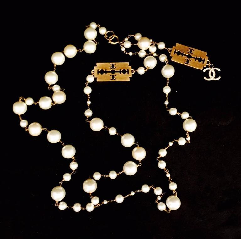 Classic Coco Chanel Pearl Razor Blade Necklace 2