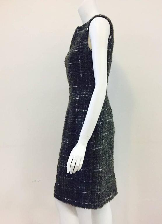 Christian Dior Aubergine and Olive Boucle Wool Blend Tweed Sleeveless Sheath  In Excellent Condition For Sale In Palm Beach, FL