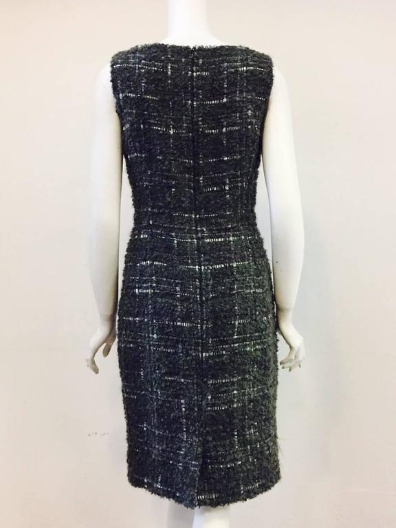Black Christian Dior Aubergine and Olive Boucle Wool Blend Tweed Sleeveless Sheath  For Sale