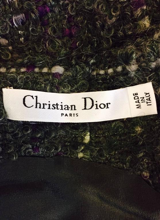 Women's Christian Dior Aubergine and Olive Boucle Wool Blend Tweed Sleeveless Sheath  For Sale