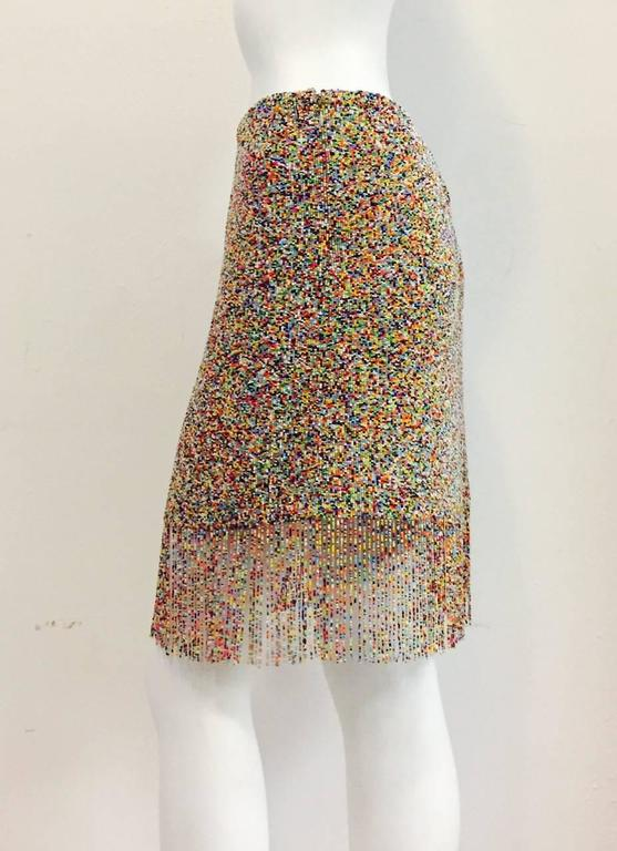 Ralph Lauren Purple Label Collection Multi Color Beaded Skirt With Long Fringe In Excellent Condition For Sale In Palm Beach, FL