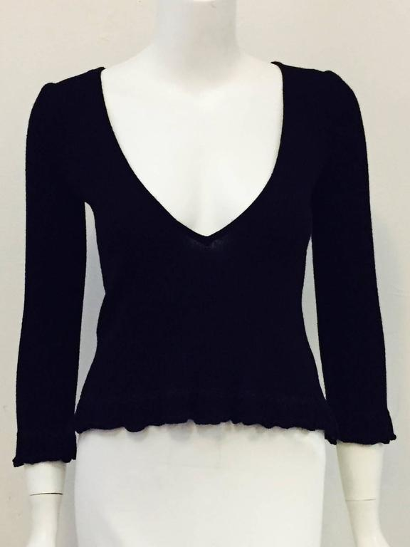Chanel Black Cashmere  Pullover With Deep V Back And Ruffled Hem 2