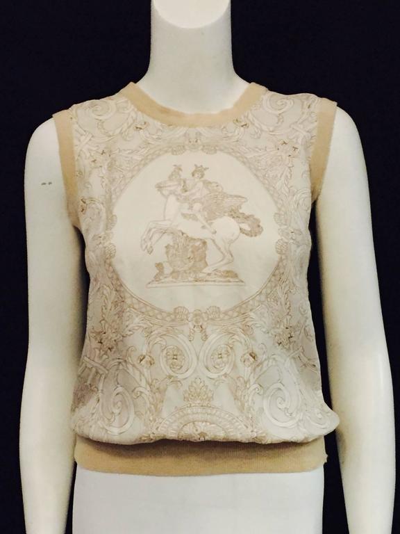 Beige Hermès Tan Silk Hermès on Pegasus Print Sleeveless Top With Banded Trim  For Sale