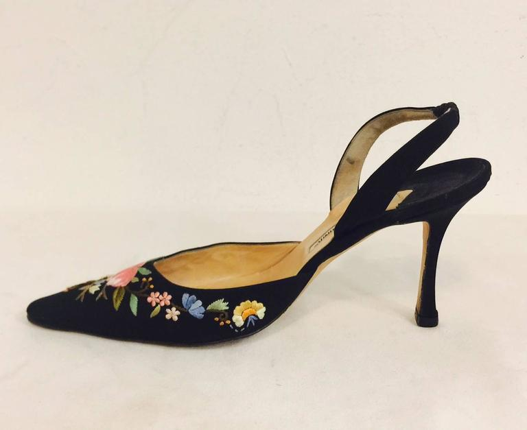 ad9c2c0f202 Manolo Blahnik Embroidered Black Silk Evening Slingback High Heels