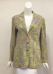 Cherished Chanel Spring Multi Colored Jacket with Three Acrylic CC Buttons