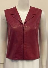 Chanel Sleeveless Salmon Vest in Supple Goat Skin w. Zipper Front