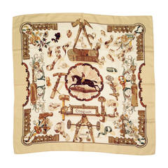 """Vintage Hermes 100% Silk Twill """"Copeaux"""" Scarf By Caty Latham"""