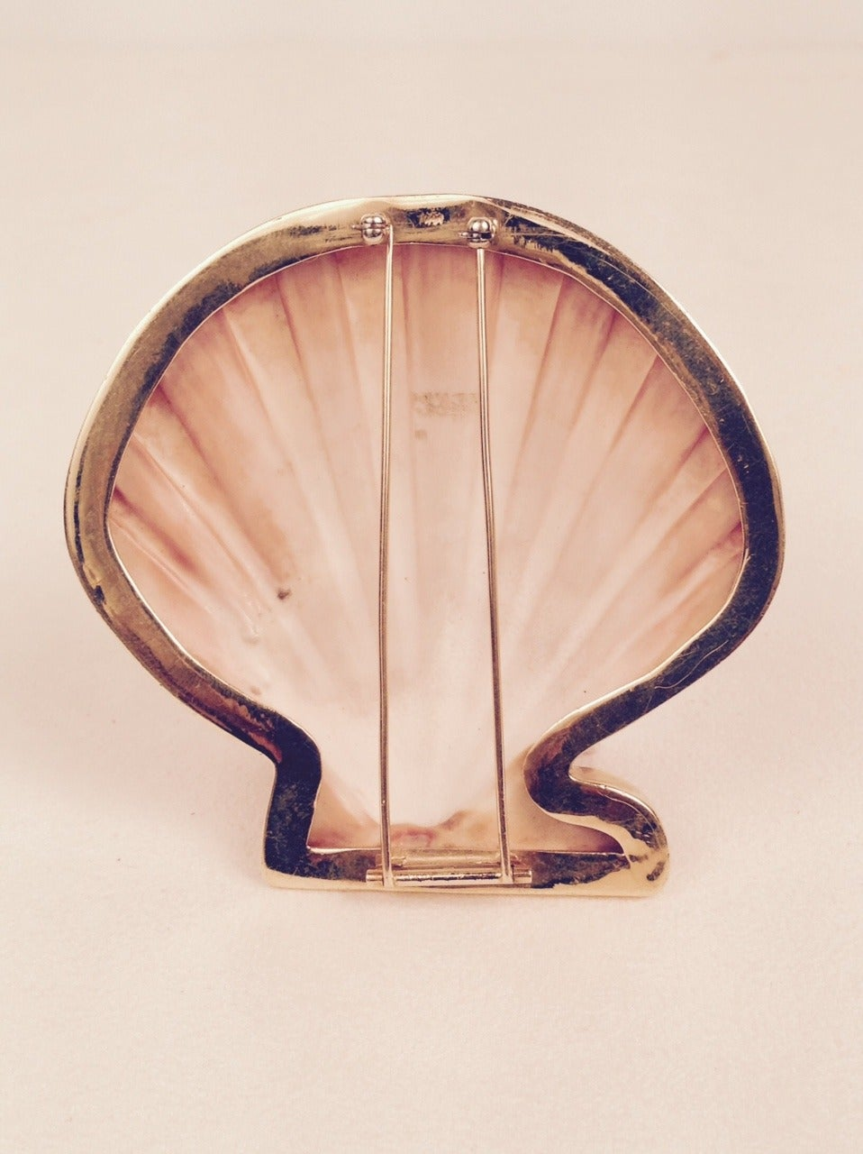Gold Custom Framed Seashell Brooch 2