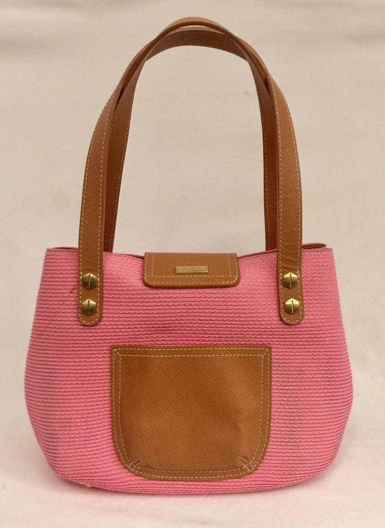 Exciting Eric Javits Squishee Pink Handbag With Tan