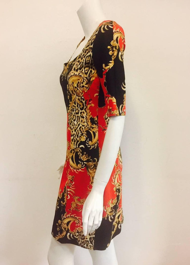 Just Cavalli Baroque Leopard Print Short Sleeve Sheath In Excellent Condition For Palm Beach
