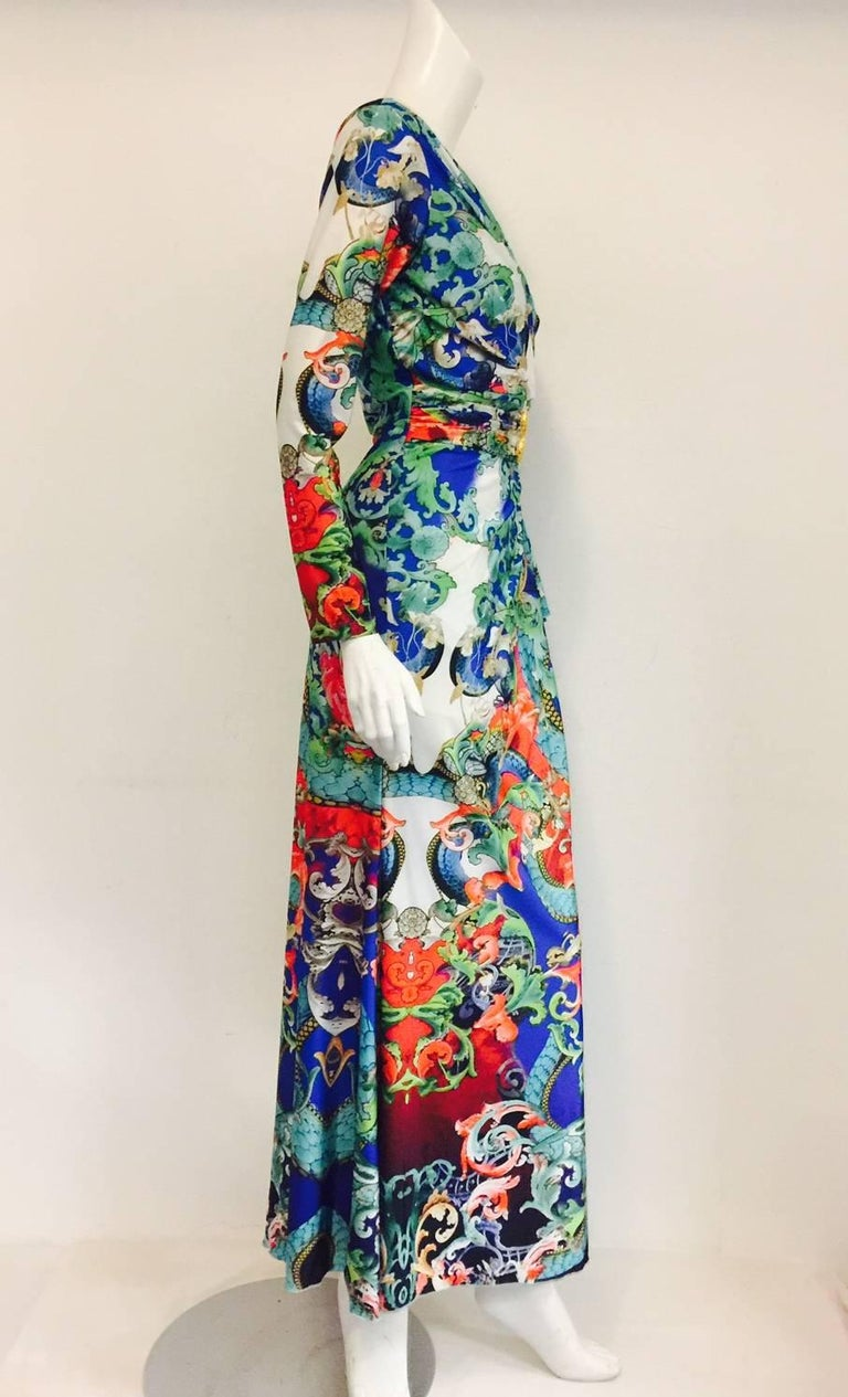 Remarkable Roberto Cavalli Multicolor Floral Print V Neck Long Dress 2