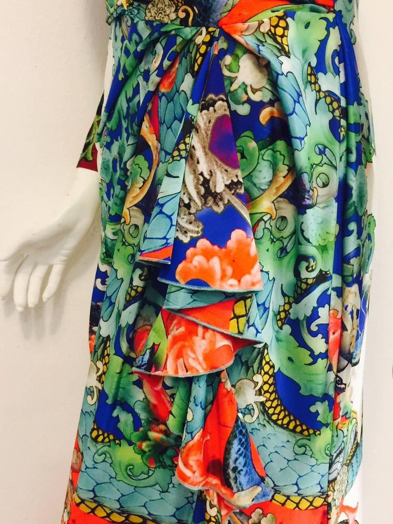 Remarkable Roberto Cavalli Multicolor Floral Print V Neck Long Dress 6