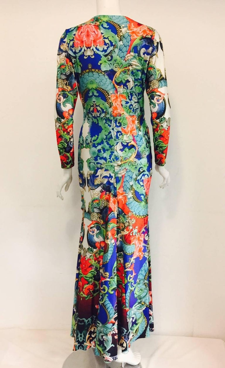 Remarkable Roberto Cavalli Multicolor Floral Print V Neck Long Dress 3