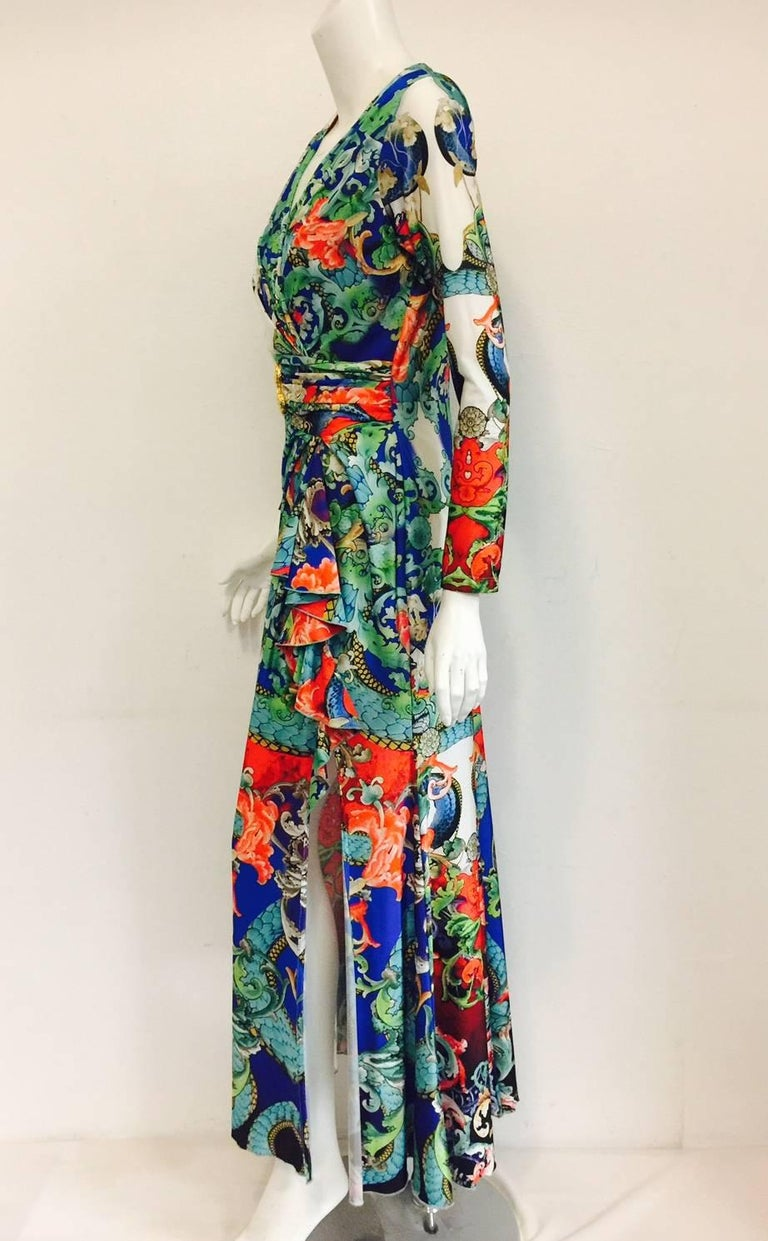 Remarkable Roberto Cavalli Multicolor Floral Print V Neck Long Dress 4