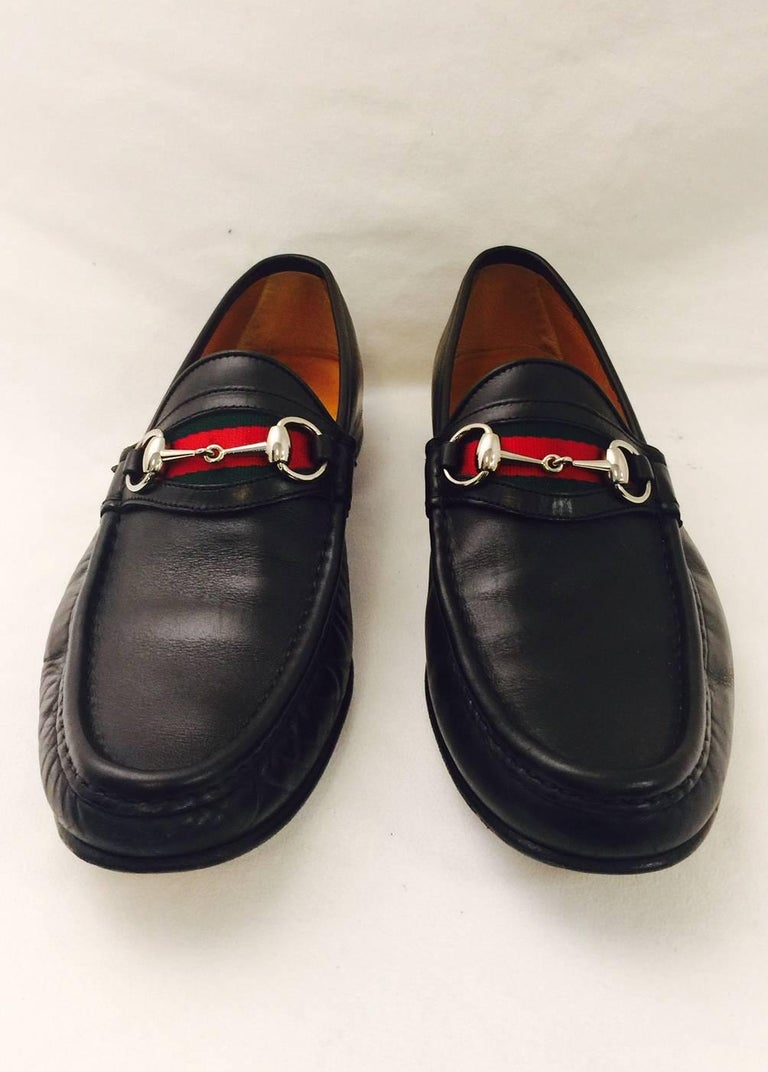 6039ff732fd Men s Gucci Penny Loafers with Iconic Ribbon Stripe and Horsebit. Sz ...