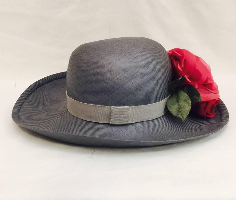 Brown Tres Chic Chanel Light Blue Hat Accentuated With 3 Red Roses For Sale