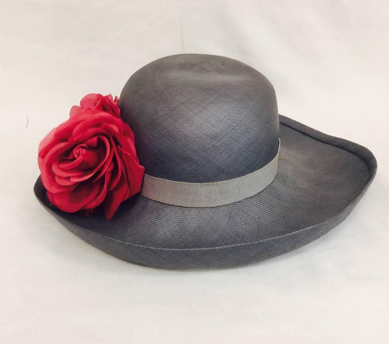 Tres Chic Chanel Light Blue Hat Accentuated With 3 Red Roses In Excellent Condition For Sale In Palm Beach, FL