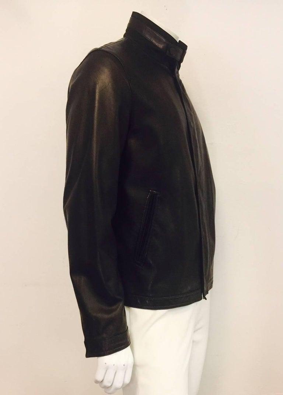7705548a91 Men's Z Zegna Soft Lambskin Leather Jacket in Black Sz XL