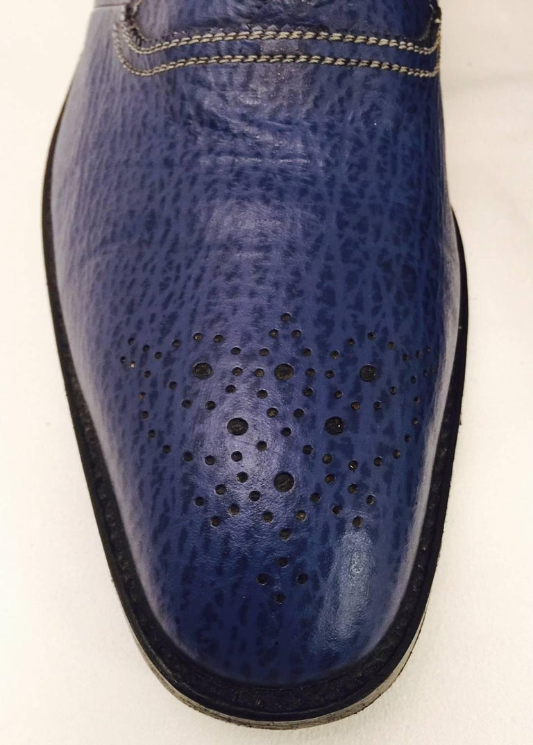 Men S Sensational Shark Skin Shoes By A Testoni In Lapis