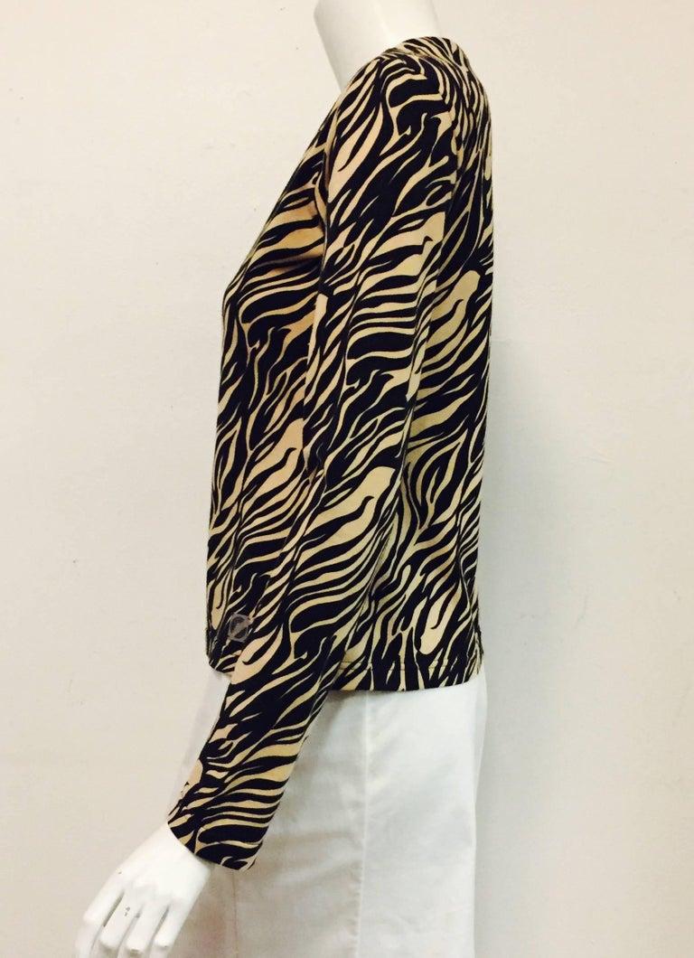 Women's Vampy Versace Black & Beige Tiger Print Knit Top For Sale