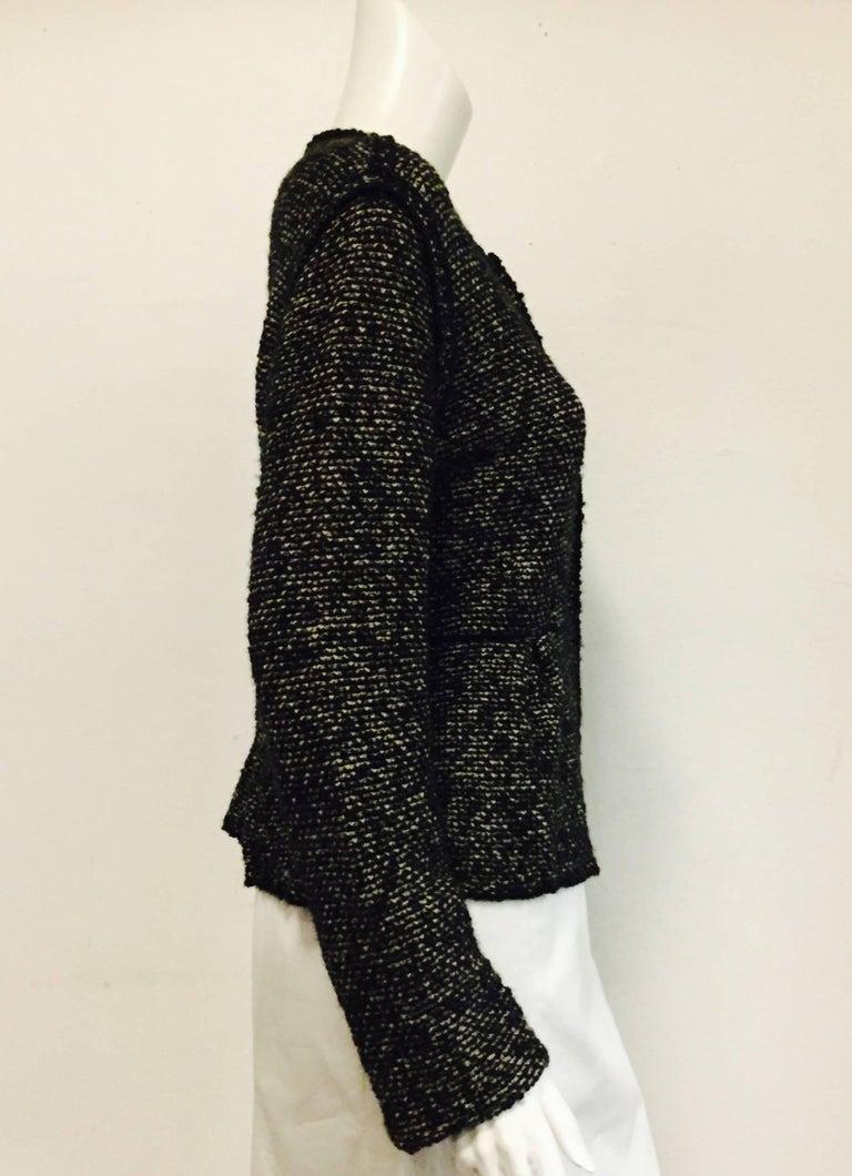 Very Valentino Wool Black and Grey Tweed Sweater Jacket With Black ...