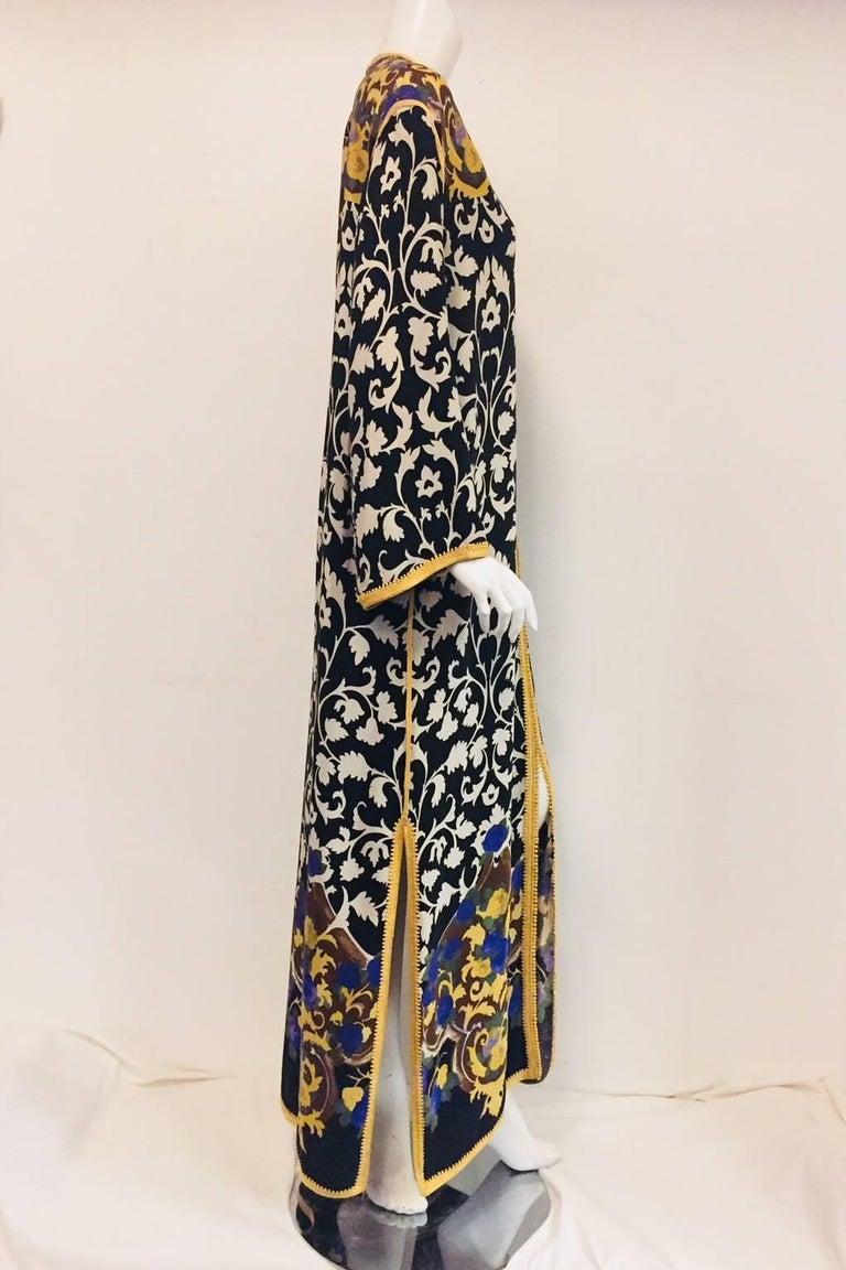 Balmain Black and White Multi Floral Print Silk Kaftan With Gold Trim  4