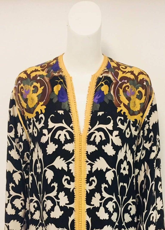 Balmain Black and White Multi Floral Print Silk Kaftan With Gold Trim  2